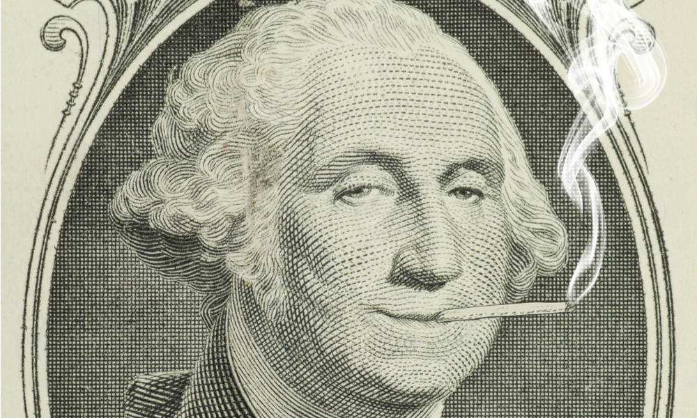 -	George Washington getting high on a one-dollar bill