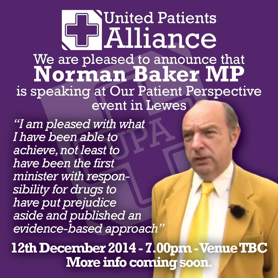 UK.  Former drugs Minister Norman Baker to speak at UK Medical Cannabis meeting