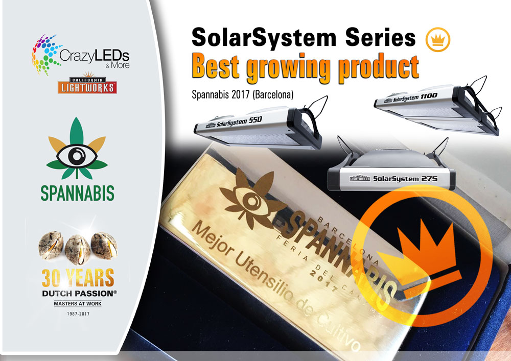 Barcelona.  Crazy LEDs wins Spannabis trophy with SolarSystem LED Grow Lights