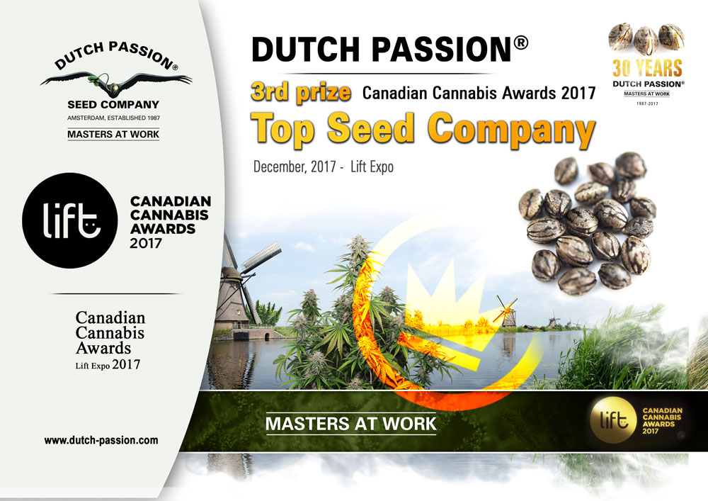 2017 Canadian Cannabis Cup. 3rd Prize for Dutch Passion in 'Best Seedbank' category